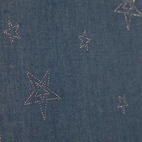Tissu chambray coton & strass étoiles - Bleu & argent
