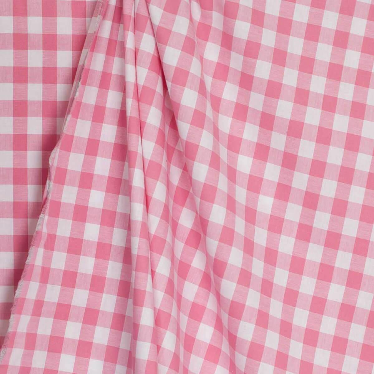 Tissu vichy - Rose    blanc - Par 50 cm Caréfil e90b0462269