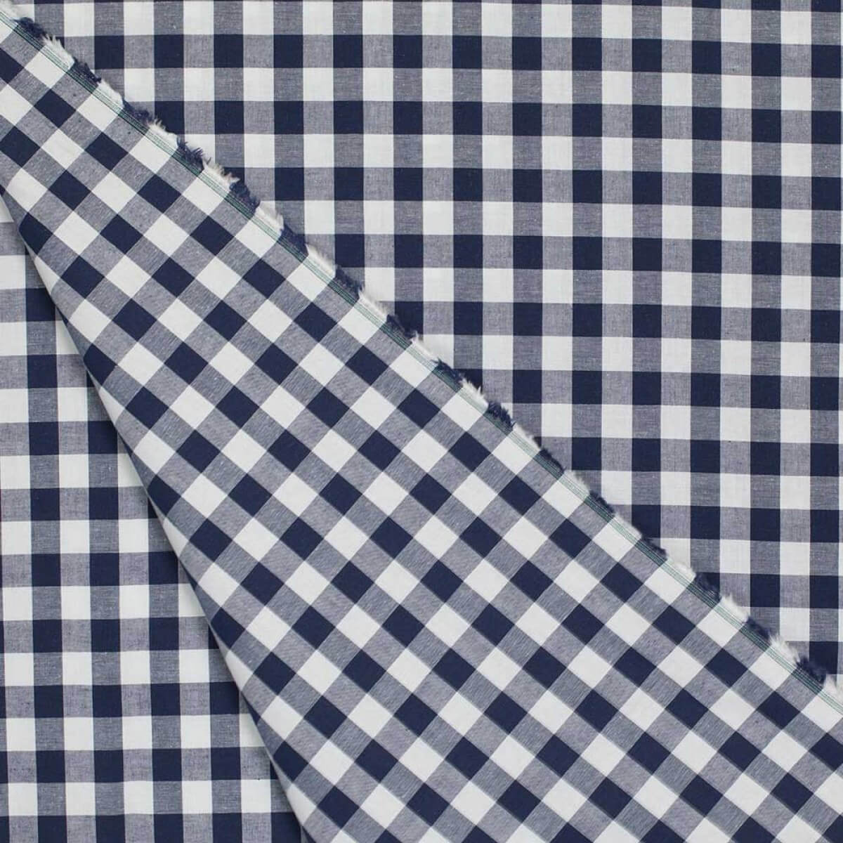 tissu vichy bleu marine blanc grand carreaux 2 cm. Black Bedroom Furniture Sets. Home Design Ideas