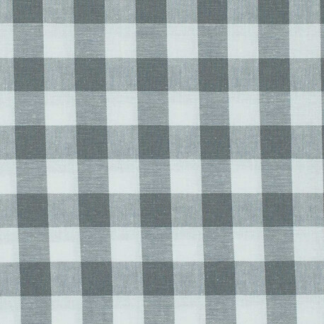 Tissu vichy gris & blanc - Grand carreaux 2 cm