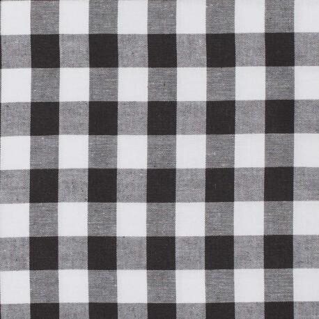 Tissu vichy noir & blanc - Grand carreaux 2 cm