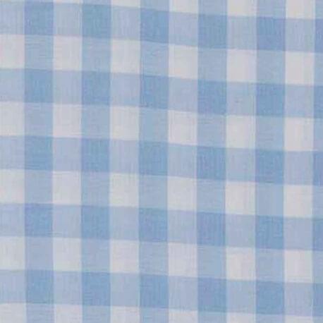 Tissu vichy bleu ciel & blanc - Grand carreaux 2 cm
