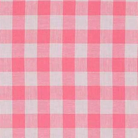 Tissu vichy rose bonbon & blanc - Grand carreaux 2 cm
