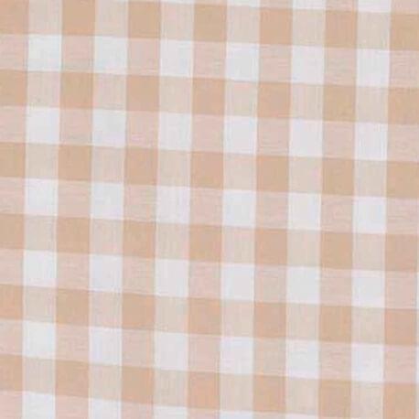 Tissu vichy beige & blanc - Grand carreaux 2 cm