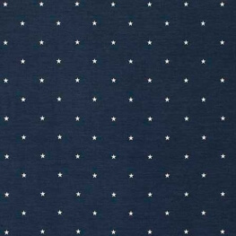 Tissu jersey coton étoiles - Bleu marine & blanc