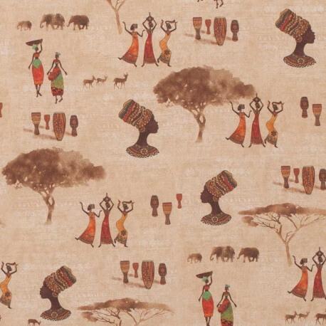 Tissu popeline coton terre d'Afrique
