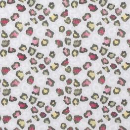 Tissu popeline coton leopard - Vert, rose & jaune