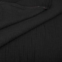 Tissu coton double gaze - Noir