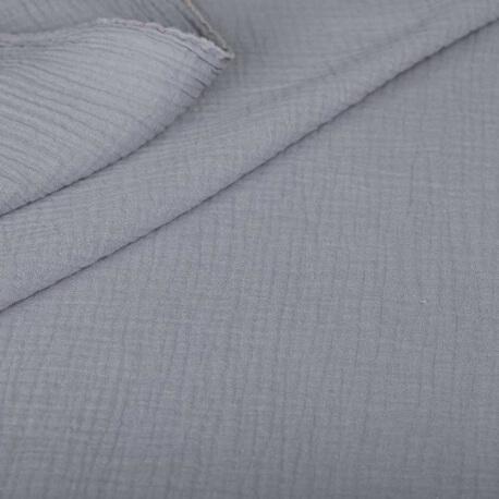 Tissu coton double gaze - Gris