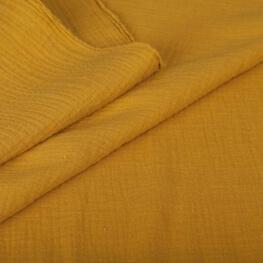 Tissu coton double gaze - Moutarde