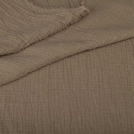 Tissu coton double gaze - Grège foncé