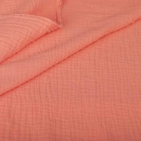 Tissu coton double gaze - Brume de corail