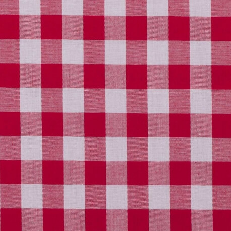 Tissu vichy rouge & blanc - Grand carreaux 2 cm