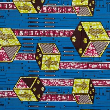 Tissu Wax motif africain - Bleu, rose & vert