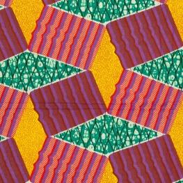 Coupon 5,48 mètres tissu Wax - Vert, violet, rouge & jaune