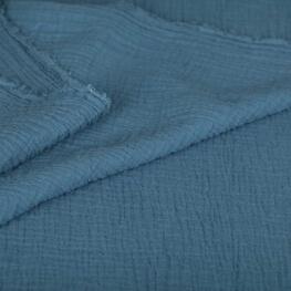 Tissu coton double gaze - Bleu