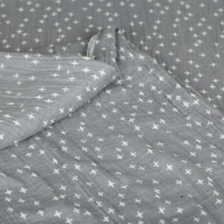 Tissu coton double gaze little cross - Gris