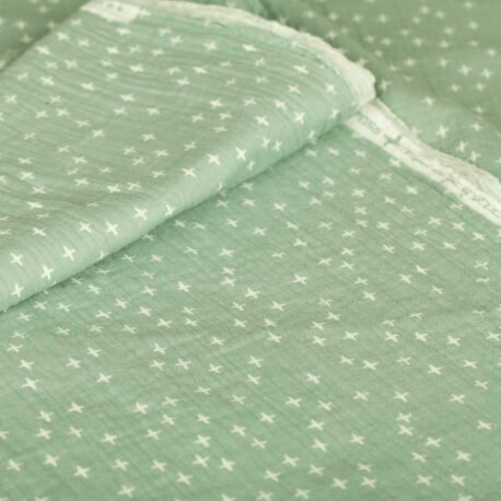 Tissu coton double gaze little cross - Vert