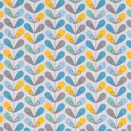 Tissu coton cretonne scandinave - Bleu, gris, jaune & vert