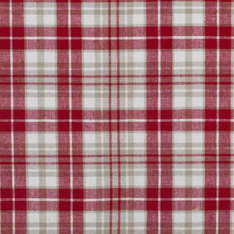 Tissu coton tissé Kelsch - Rouge & beige