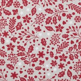 Tissu coton cretonne houx de Noël - Rouge & lin