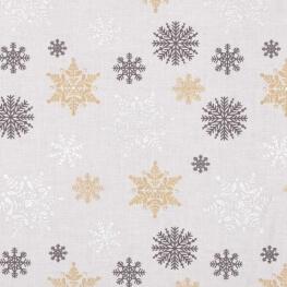 Tissu coton cretonne étoiles givrées - Blanc, or & argent