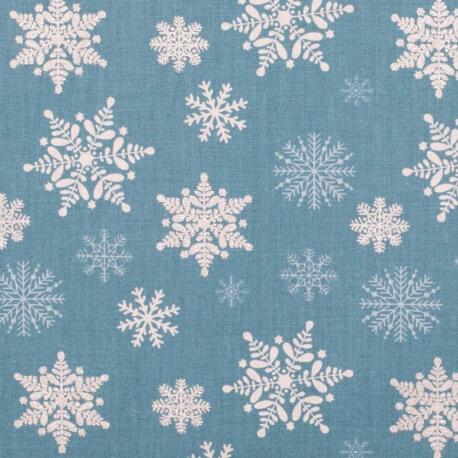 Tissu coton cretonne étoiles givrées - Bleu & argent