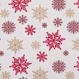 Tissu coton cretonne étoiles givrées - Rouge & or