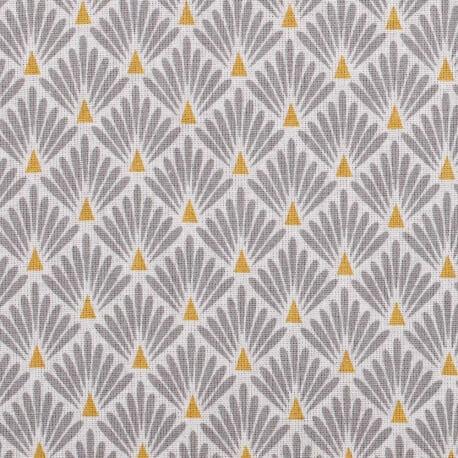Tissu coton cretonne éventails - Gris
