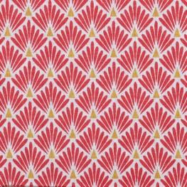 Tissu coton cretonne éventails - Rouge