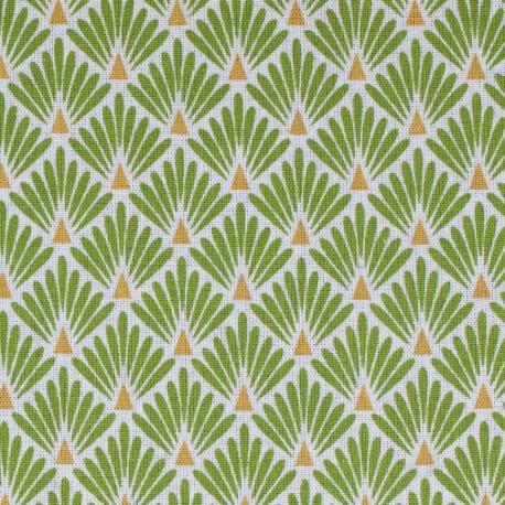 Tissu coton cretonne éventails - Vert
