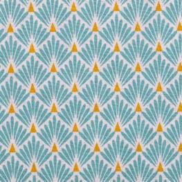 Tissu coton cretonne éventails - Bleu lagon