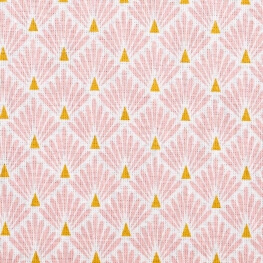Tissu coton cretonne éventails - Rose