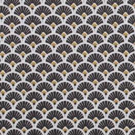 Tissu coton cretonne éventails - Noir