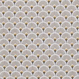 Tissu coton cretonne éventails - Beige