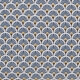 Tissu coton cretonne éventails - Bleu pétrole