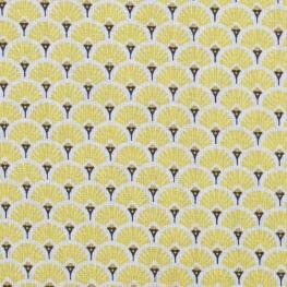 Tissu coton cretonne éventails - Jaune
