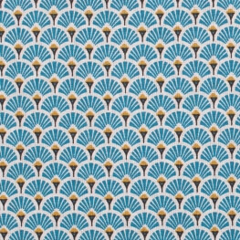 Tissu coton enduit éventails - Bleu