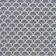 Tissu coton enduit éventails - Bleu pétrole
