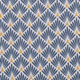 Tissu coton enduit écailles - Bleu pétrole