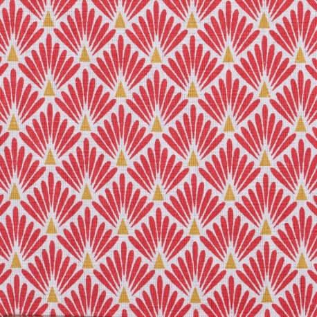 Tissu coton enduit écailles - Rouge