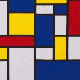 Tissu coton cretonne Mondrian - Bleu, rouge & jaune