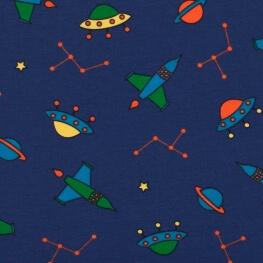 Tissu jersey fusée spatiale & planète - Bleu