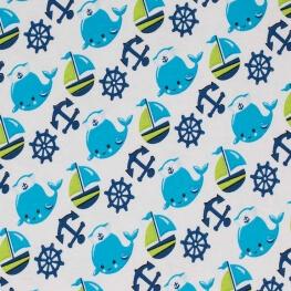 Tissu jersey baleine & cie - Bleu & vert anis