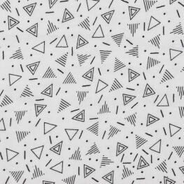 Tissu coton double gaze graphique - Noir & blanc