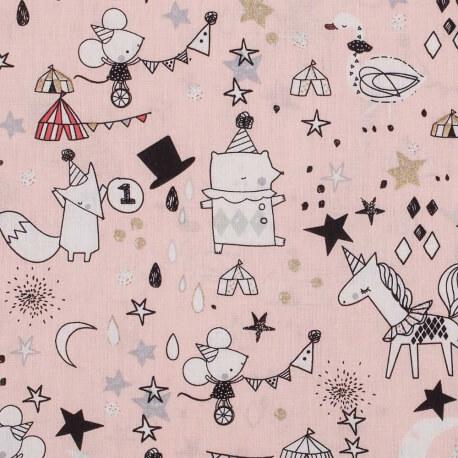 Tissu coton cirque - Rose doux