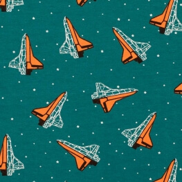 Tissu jersey vaisseaux spatiaux - Bleu & orange