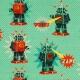 Tissu jersey robot - Bleu lagon