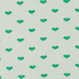 Tissu jersey sweat coeur - Vert