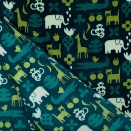 Tissu doudou double face jungle - Vert